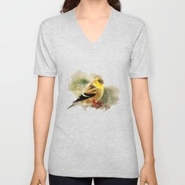 Goldfinch Watercolor Art Unisex V-Neck