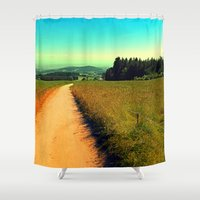 hiking Shower Curtains featuring Hiking on a hot afternoon by Patrick Jobst
