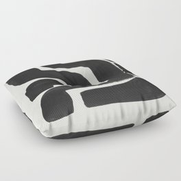 Black Ink Paint Brush Strokes Abstract Organic Pattern Mid Century Style Floor Pillow