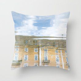 Reflections of a house in southern Germany in river Throw Pillow