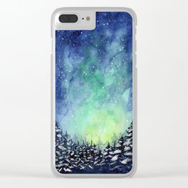 Galaxy Enchanted Forest Northern Lights Clear iPhone Case