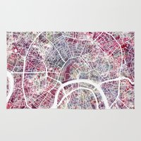 moscow Area & Throw Rugs featuring Moscow by MapMapMaps.Watercolors