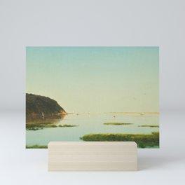 Shrewsbury River, New Jersey Salt Ponds with Sailboats nautical landscape painting by John Frederick Kensett  Mini Art Print
