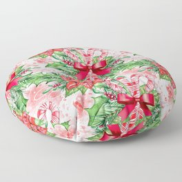 Poinsettia & Candy cane Floor Pillow