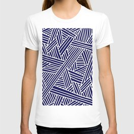 Abstract navy blue & white Lines and Triangles Pattern- Mix and Match with Simplicity of Life T-shirt
