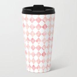 Pink Chinese check pattern Travel Mug