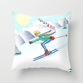 Skiing Girl Throw Pillow