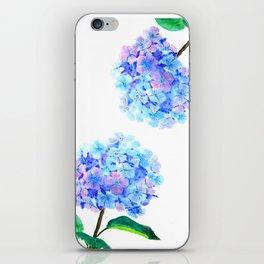 blue purple hydrangea iPhone Skin