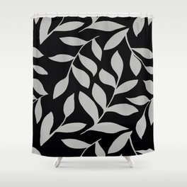 GRAY LEAVES BOUNTIFUL Gray and Black Fashion Shower Curtain