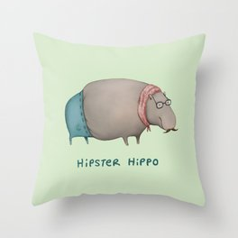 Hipster Hippo Throw Pillow