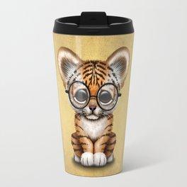 Cute Baby Tiger Cub Wearing Eye Glasses on Yellow Travel Mug