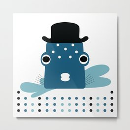 Top Hat Fish Metal Print