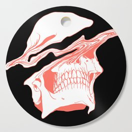Liquify Skull in black and living coral Cutting Board