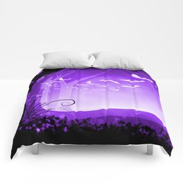 Dark Forest at Dawn in Amethyst Comforters