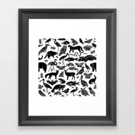Linocut animals nature inspired printmaking black and white pattern nursery kids decor Framed Art Print
