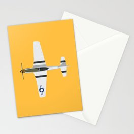 P-51 Mustang Fighter Aircraft - Yellow Stationery Cards