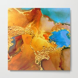 Sophisticated Glitter Gold and Blue Abstract Paint Texture Metal Print