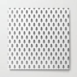 Hand drawn black and white tree Metal Print