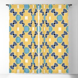 Tolkien ink blue and yellow pattern Blackout Curtain