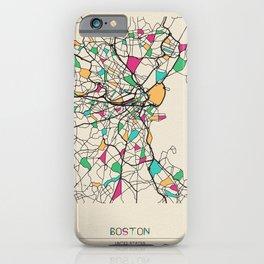 Colorful City Maps: Boston, Massachusetts iPhone Case