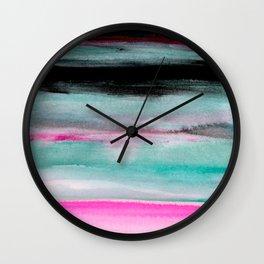 Abstract Pink & Green & Black painting Wall Clock