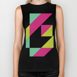 Hot Pink and Neon Chartreuse Color Block Biker Tank