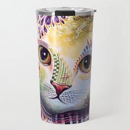 Lucy ... Abstract cat pet animal art Travel Mug