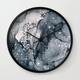 Icy Payne's Grey Abstract Bubble / Snow Painting Wall Clock