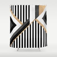 stripe Shower Curtains featuring Stripe Combination by Elisabeth Fredriksson