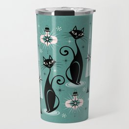 Mid Century Meow Atomic Kitty Christmas ©studioxtine Travel Mug