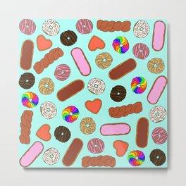 Assorted Cute Breakfast Foodie Donuts Metal Print