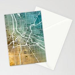 Minneapolis Minnesota City Map Stationery Cards