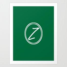 Monogram - Letter Z on Cadmium Green Background Art Print