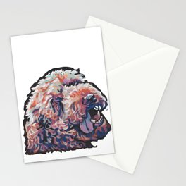 Labradoodle Doodle Dog Portrait bright colorful Pop Art Paintin by LEA Stationery Cards