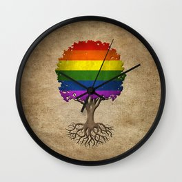 Vintage Tree of Life with Gay Pride Rainbow Flag Wall Clock