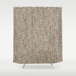 Pussywillow Pattern — Taupe Shower Curtain