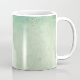 branch with cherry pink blooming flowers on rustic background Coffee Mug