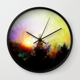 Sunrise In The Forest Wall Clock