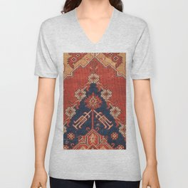 Southwest Tuscan Shapes III // 18th Century Aged Dark Blue Redish Yellow Colorful Ornate Rug Pattern Unisex V-Neck