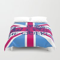 british flag Duvet Covers featuring British Flag in Pink by GraphicDivine