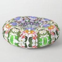 Spring wildflower mandala 2 Floor Pillow