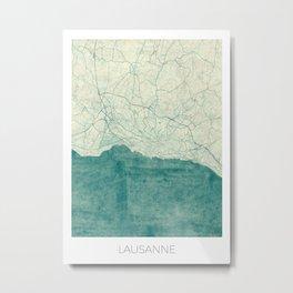 Lausanne Map Blue Vintage Metal Print