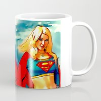 supergirl Mugs featuring Supergirl Patriot by OverseerN