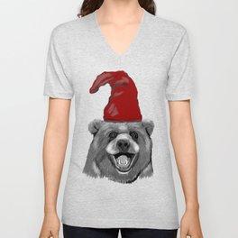 Happy Christmas Bear Unisex V-Neck