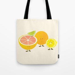 Four citrus cartoon characters Tote Bag