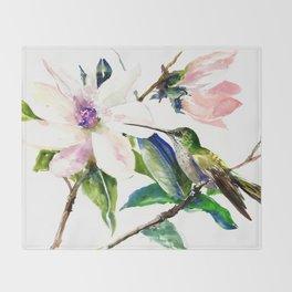 Hummingbird and Magnolia Flowers Throw Blanket