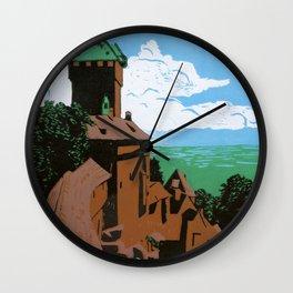 Château du Haut-Kœnigsbourg (linocut) Wall Clock