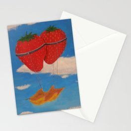 flying strawberries  Stationery Cards