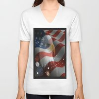 patriotic V-neck T-shirts featuring Patriotic America by D.A.S.E. 3