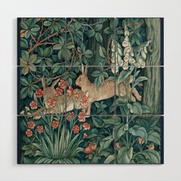 William Morris Forest Rabbits and Foxglove Wood Wall Art